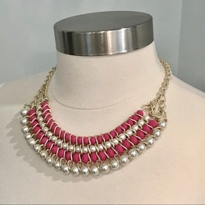 Jewelry - Statement Necklace in Faux Pearl & Pink Beads EUC